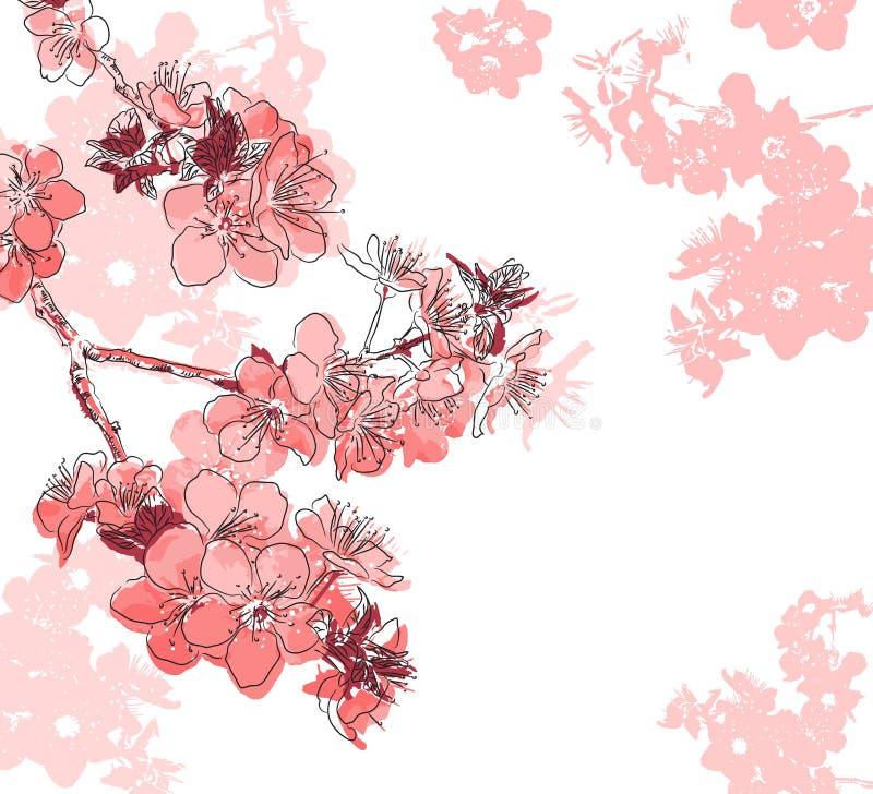 Retro fondo floreale con un fiore sakura illustrazione vettoriale