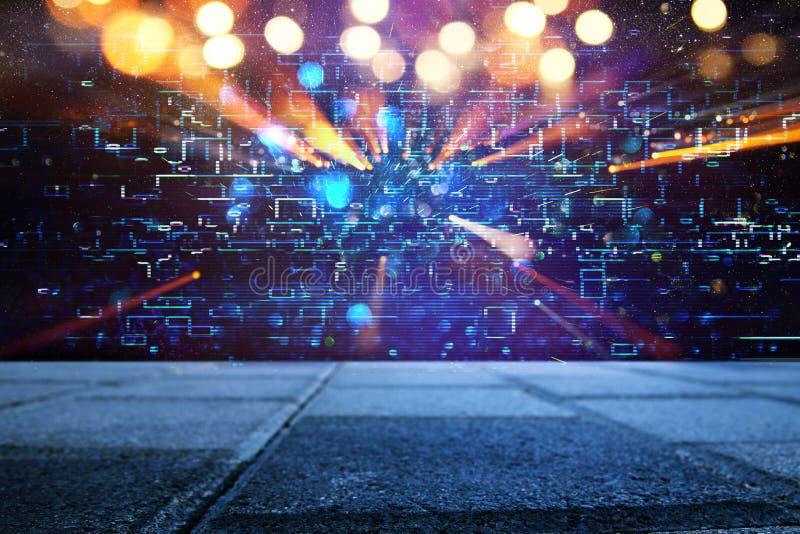 Retro fondo futuristico di retro stile di 80 ` s Digital o superficie cyber luci al neon e modello geometrico fotografia stock libera da diritti