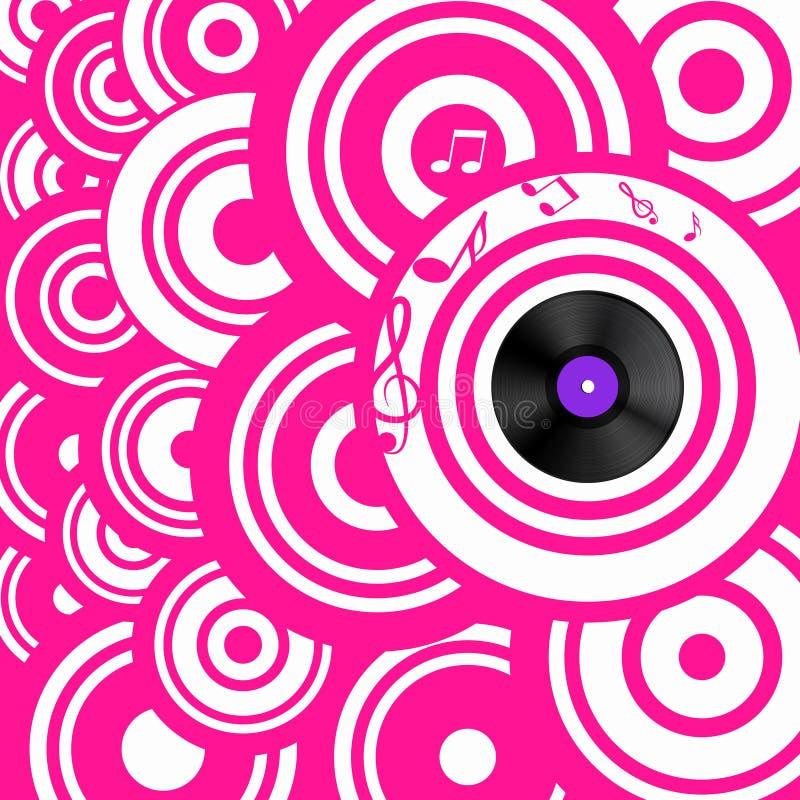 Retro fondo rosa psichedelico di musica con i cerchi ed il disco di vinile royalty illustrazione gratis