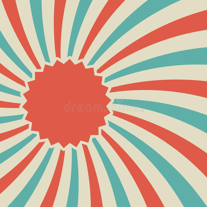 Retro fondo sbiadito di luce solare con il porta-etichette per testo fondo blu e rosso di segnale di riferimento illustrazione di stock