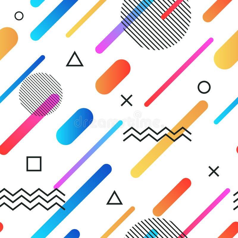 Retro fondo senza cuciture di stile astratto di Memphis con le forme geometriche semplici multicolori Modello con i triangoli illustrazione vettoriale