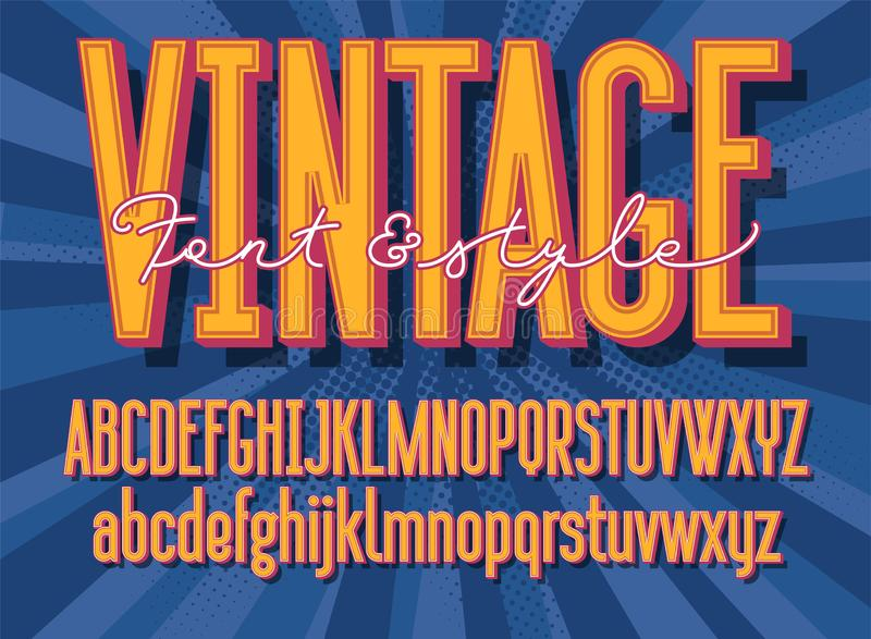 Retro font and graphic style. 3D vintage alphabet letters. Vector illustration royalty free illustration