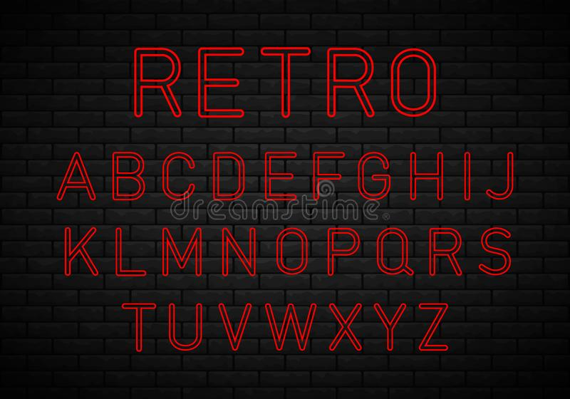 Retro font, neon. Retro font. Best for use as a headlines in advertising, stylish retro art, graphic designs, posters and web design vector illustration