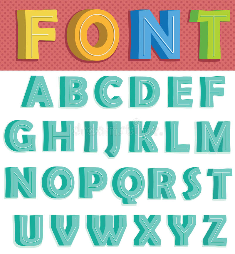 Retro Font stock illustration