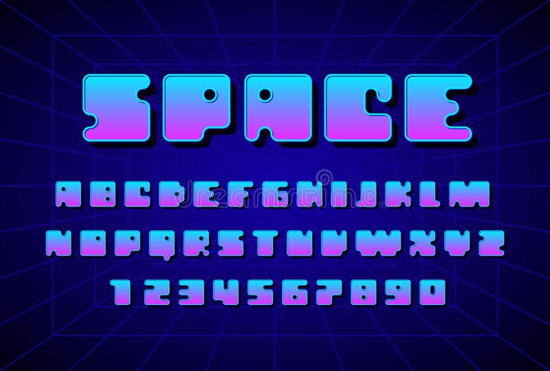 Retro font in the style of 80s. Uppercase letters and numbers royalty free illustration