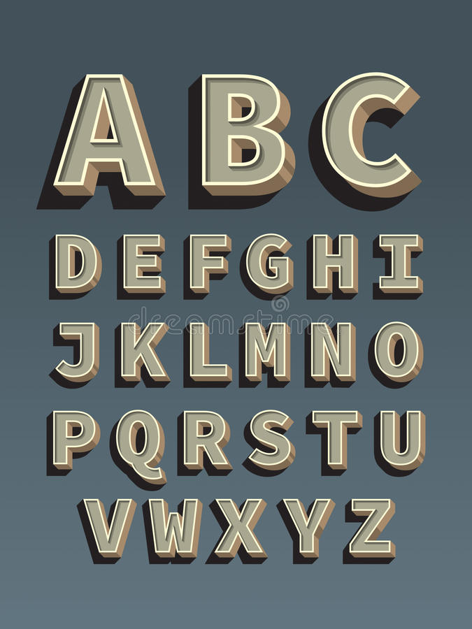Retro font. Vintage alphabet stock illustration