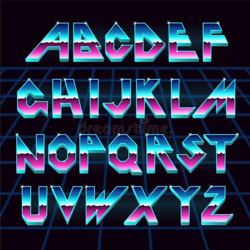 retro fonte di alfabeto di 80 s royalty illustrazione gratis