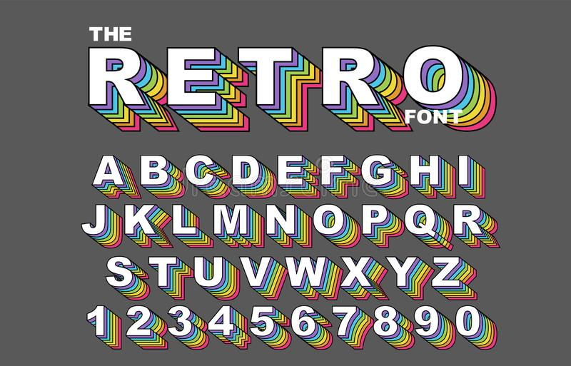 retro fonte di alfabeto di 80 s Vettore d'annata di alfabeto dell'arcobaleno royalty illustrazione gratis