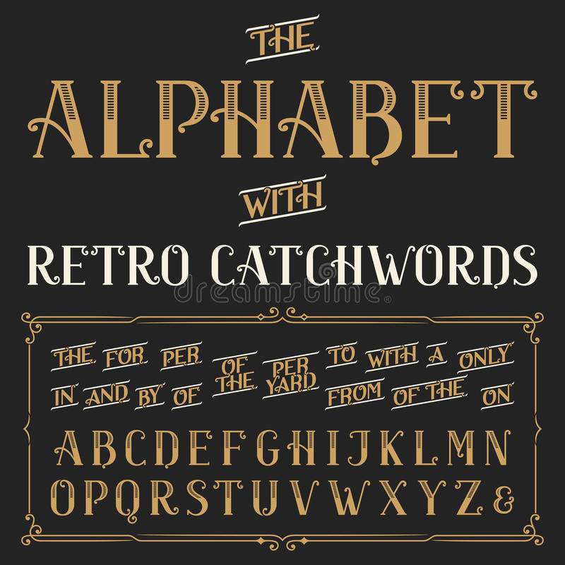 Retro fonte di vettore di alfabeto con gli slogan royalty illustrazione gratis