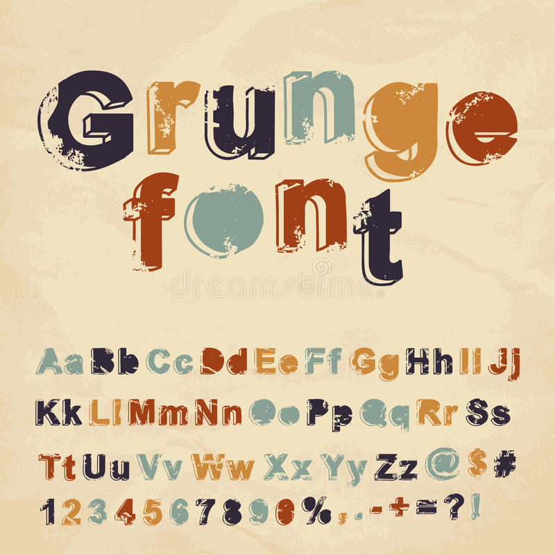 Retro fonte tipografica di lerciume illustrazione vettoriale