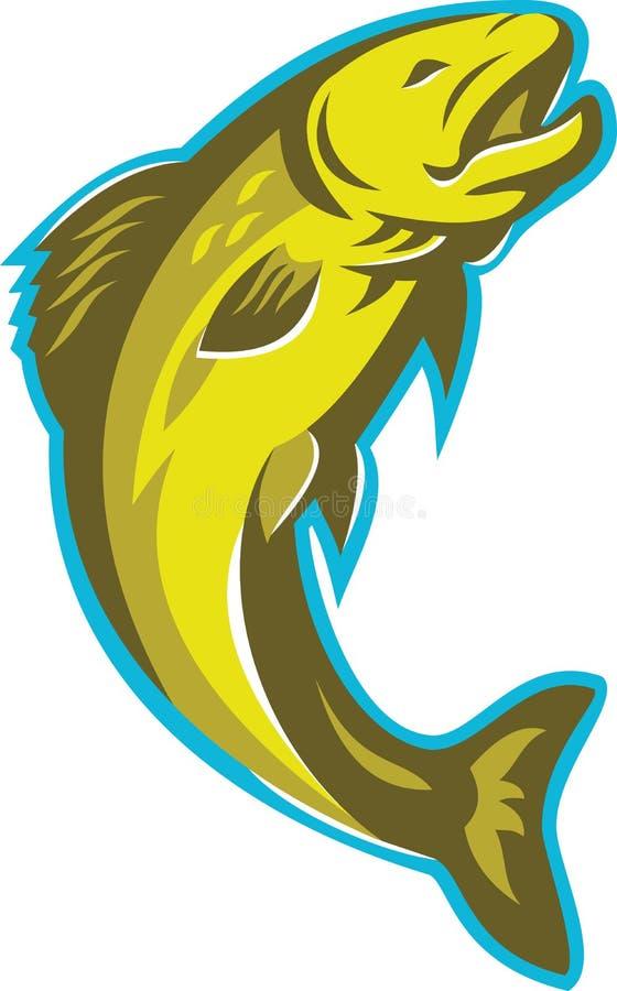 Retro forellfiskbanhoppning royaltyfri illustrationer