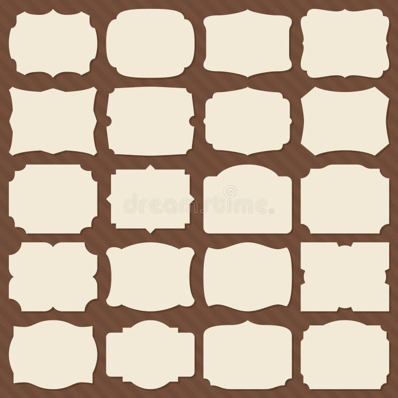 Retro forme dell'etichetta della carta in bianco Strutture eleganti d'annata per l'insieme di vettore dell'invito di nozze illustrazione vettoriale