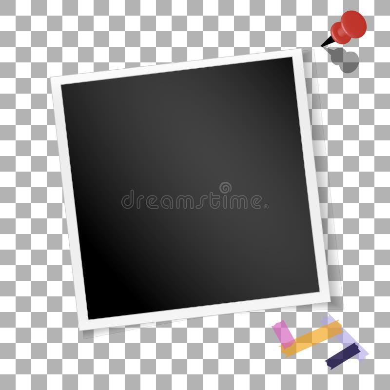 Retro foto della struttura quadrata su fondo isolato trasparente Vecchia fotografia in bianco d'annata Vettore illustrazione vettoriale