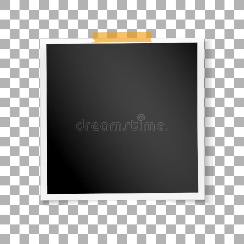 Retro foto della struttura quadrata su fondo isolato trasparente Vecchia fotografia in bianco d'annata Vettore royalty illustrazione gratis