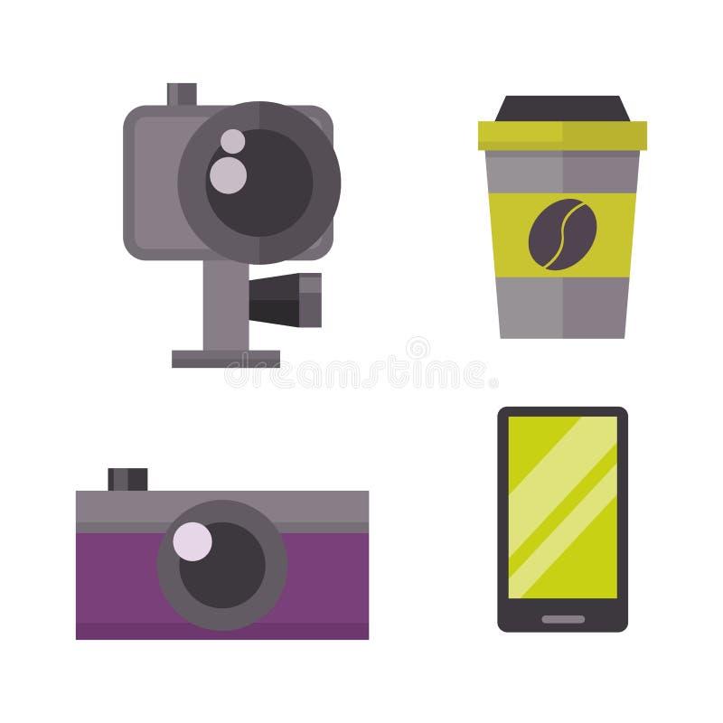 Retro fotocamera en telefoonpictogram vectorillustratie vector illustratie