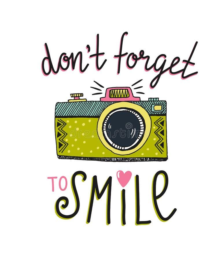 Retro fotocamera met het modieuze van letters voorzien ` trekt ` t vergeet aan om ` te glimlachen Vector illustratie stock illustratie