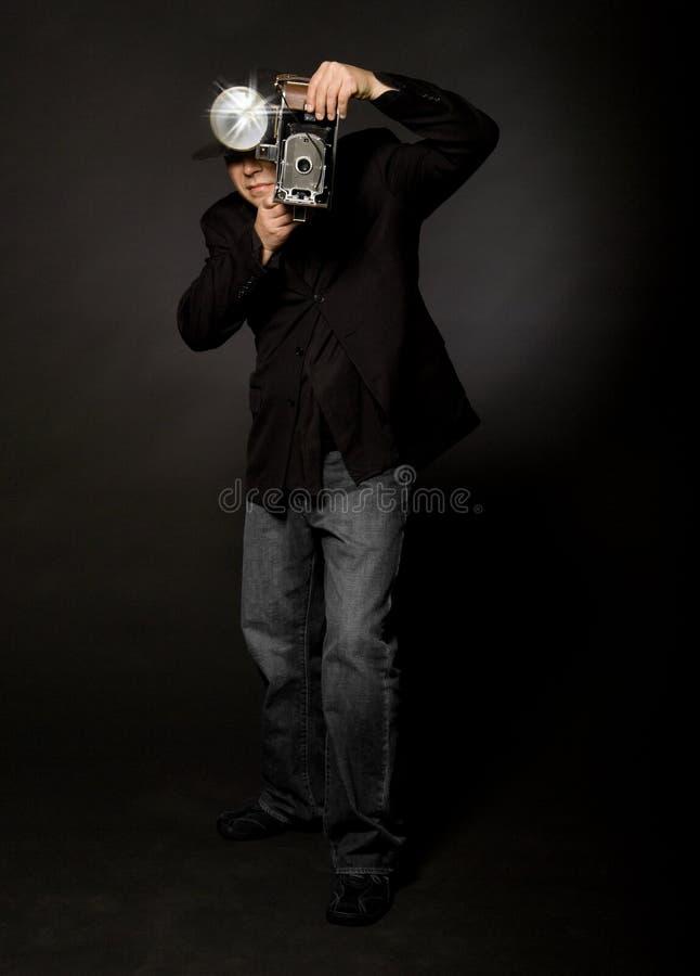 Retro Fotograaf van de Stijl royalty-vrije stock afbeelding