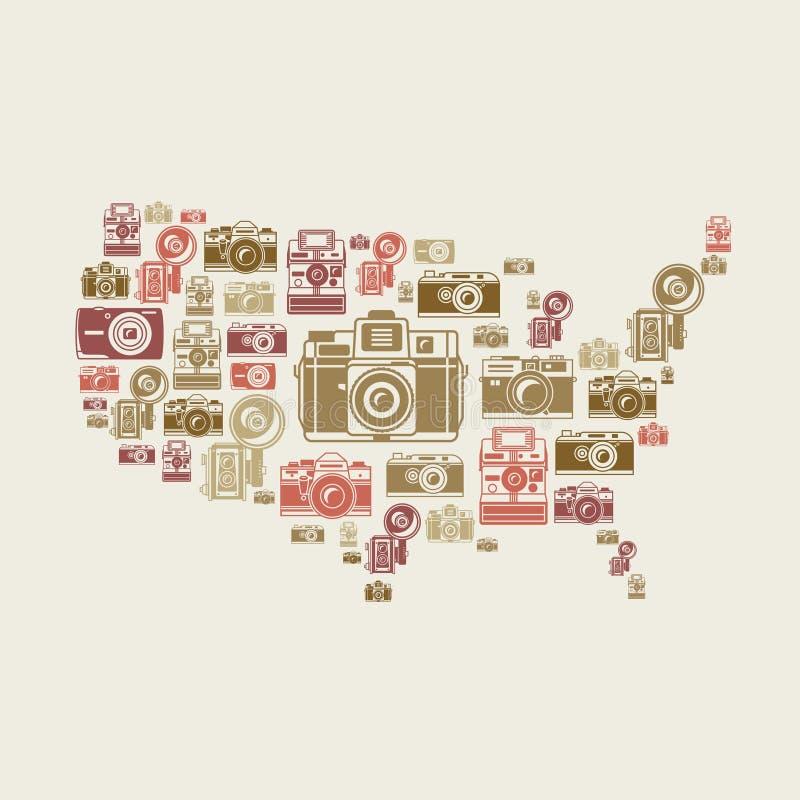 Retro fotografii kamery w USA kształcie royalty ilustracja