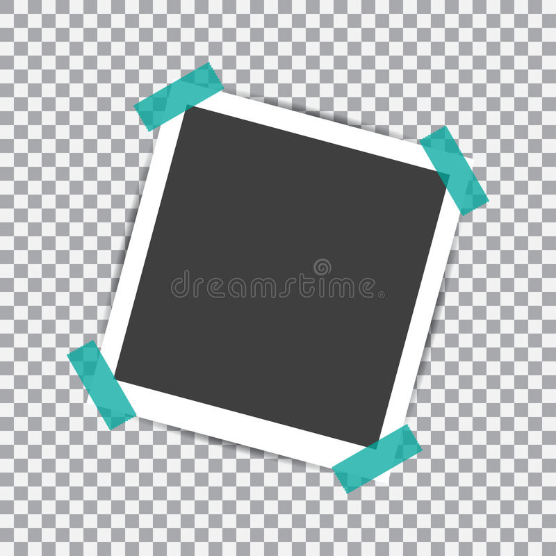 Retro fotografii rama z cieniem na kleistej taśmy szpilce na przejrzystym tle royalty ilustracja