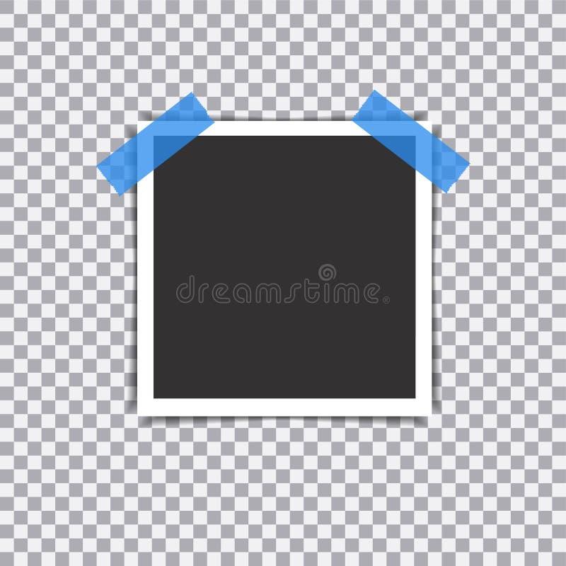 Retro fotografii rama z cieniem na kleistej taśmy szpilce na przejrzystym tle ilustracja wektor