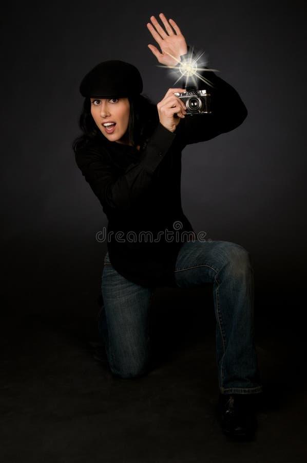 Retro fotografo di stile fotografie stock libere da diritti