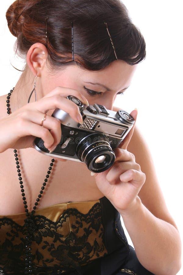 Retro- Fotographienfrau stockbild