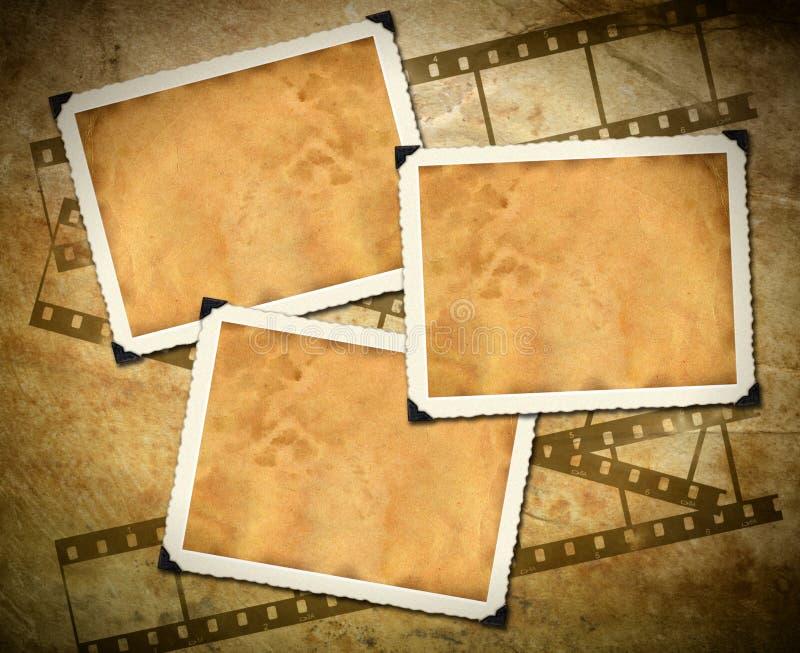 Retro fotokader, oud document, filmstrip stock illustratie