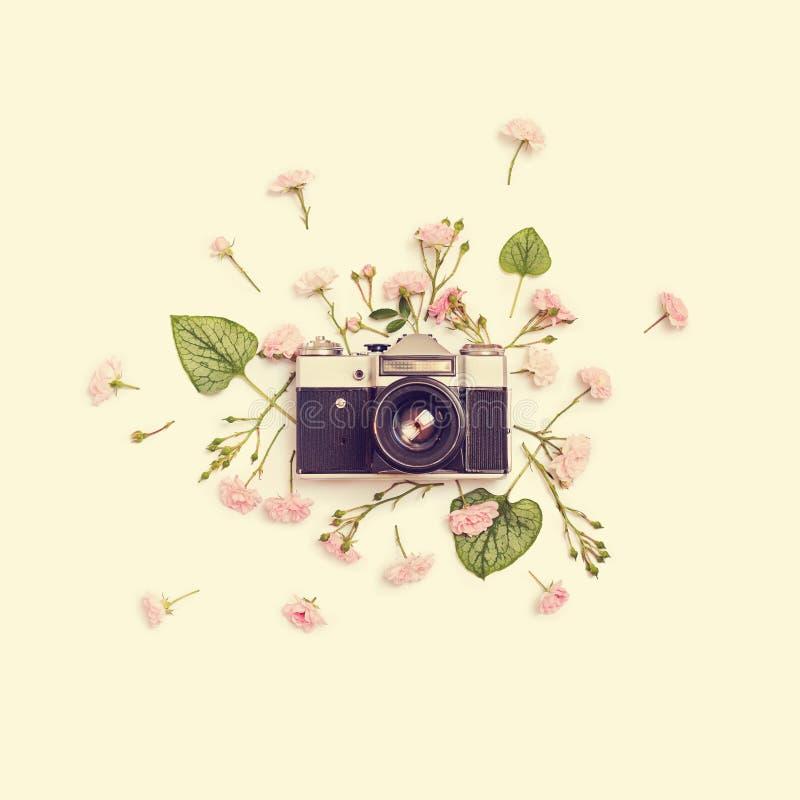 Retro fotokamera för tappning, rosa rosor fen och sidor royaltyfri fotografi