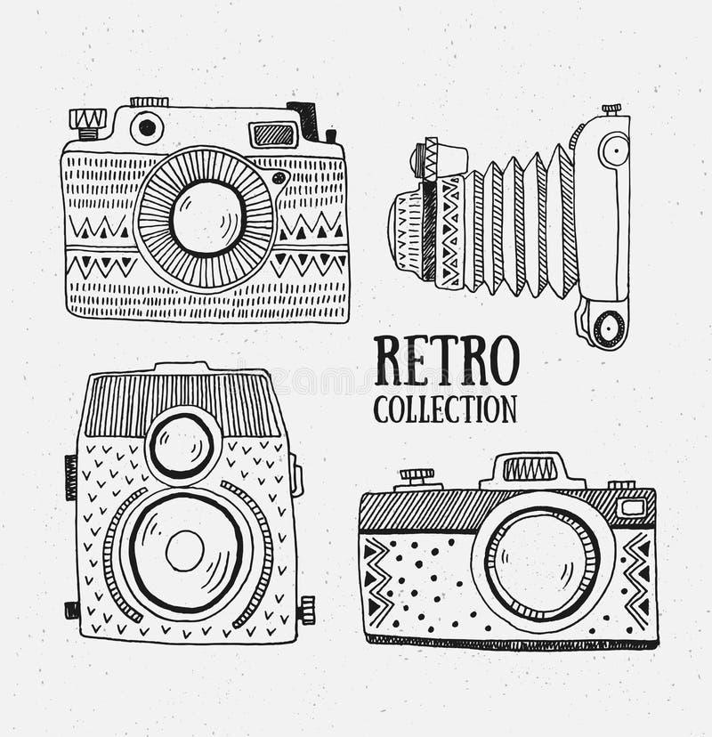 Retro- Fotokameras stellten ein Auch im corel abgehobenen Betrag Weinlesekameras mit Verzierungen vektor abbildung