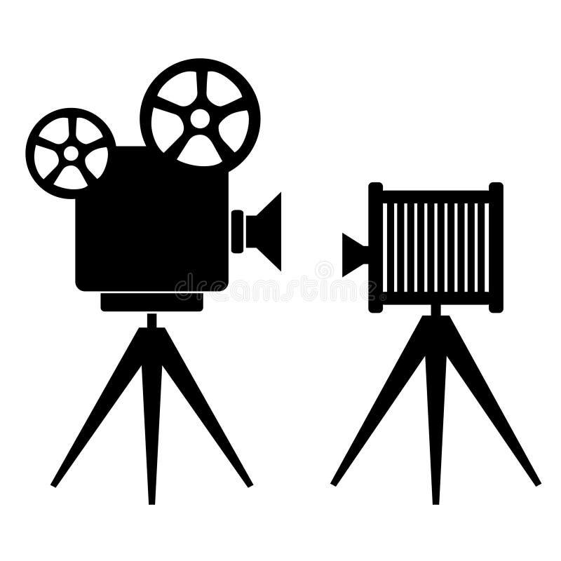 Retro fotosymboler stock illustrationer