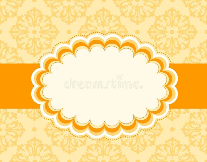 Retro frame. Orange retro wedding invitation/ anniversary background / frame design with seamless background. can be use as wedding , anniversary, valentines day stock illustration