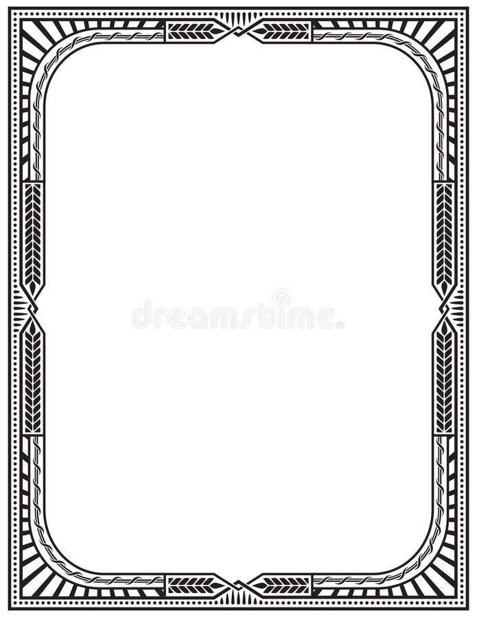 Retro Frame Letter Page Size Stock Vector Image