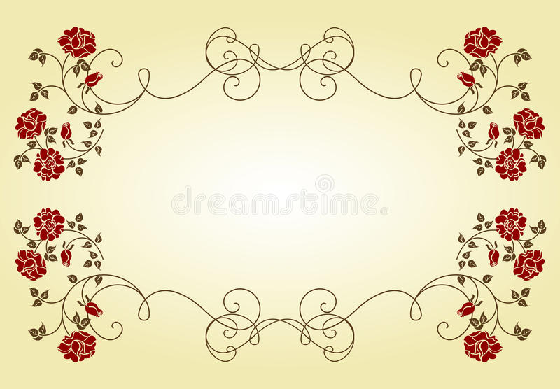 Retro frame with roses. royalty free illustration