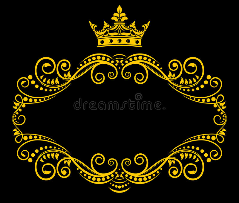 Retro frame with royal crown stock illustration