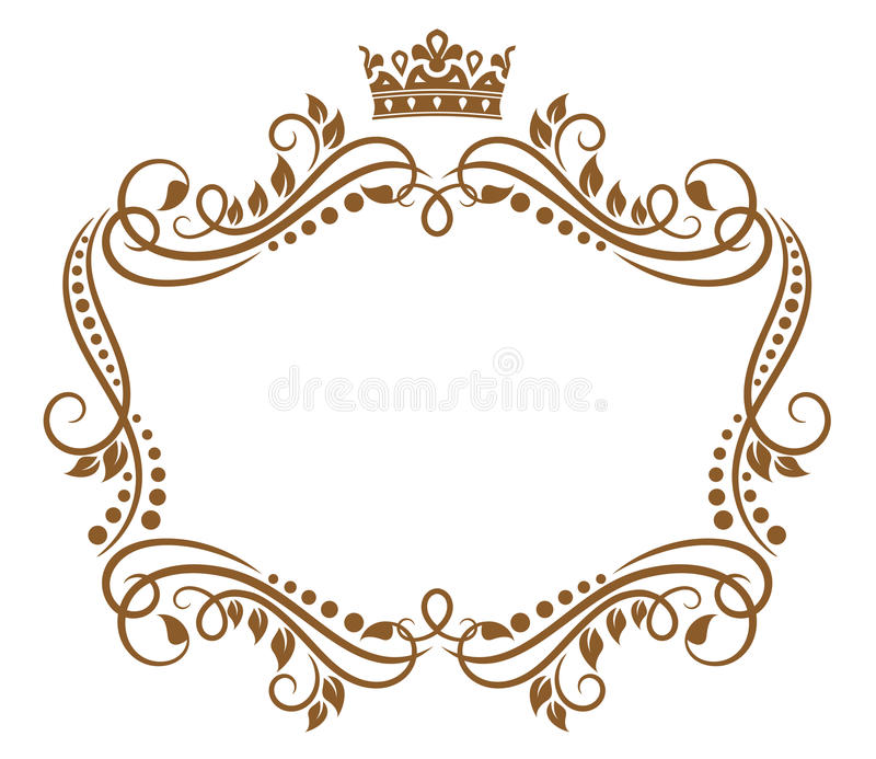 Retro frame with royal crown royalty free illustration
