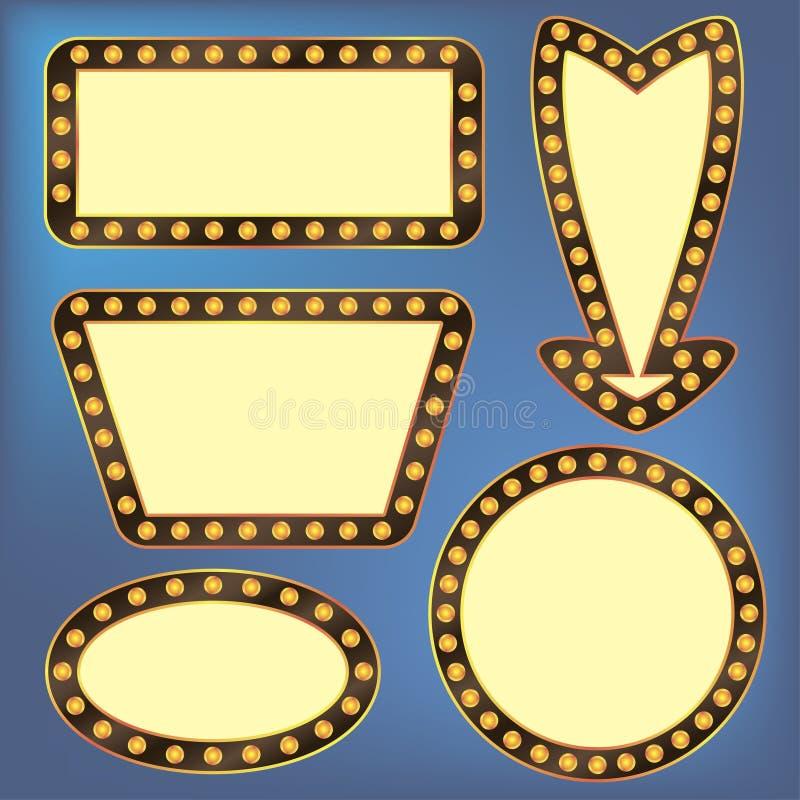 Retro frames with light bulbs. Electric illuminated signboard. Vector. vector illustration