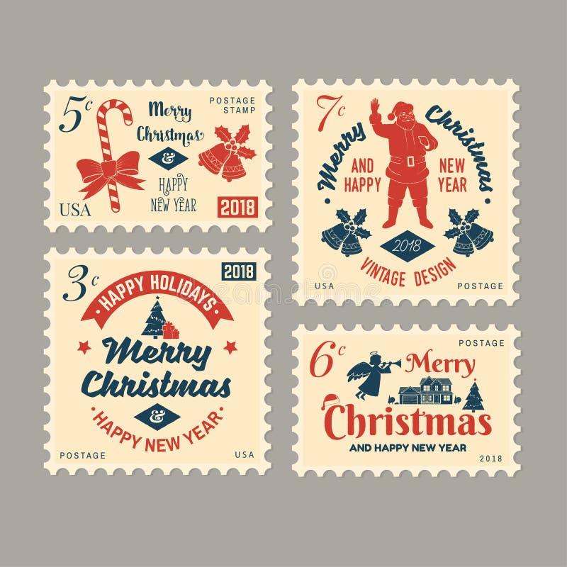 Retro francobollo del buon anno e di Buon Natale 2018 con Santa Claus, illustrazione di stock