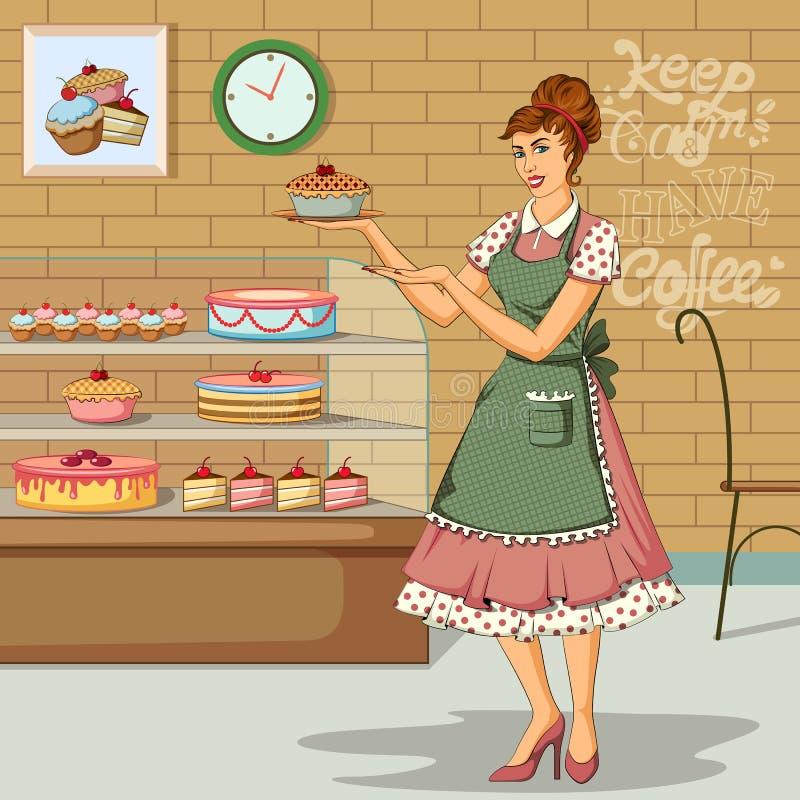 Retro- Frau im Kuchenshop lizenzfreie abbildung