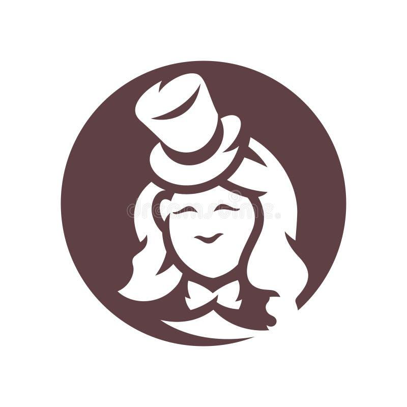 Retro- Frau im Weinlese Hut-Schattenbildzeichen stock abbildung