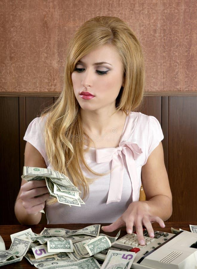 Retro- Frauenlots des Ehrgeizes Dollargeldanmerkungen stockfotos