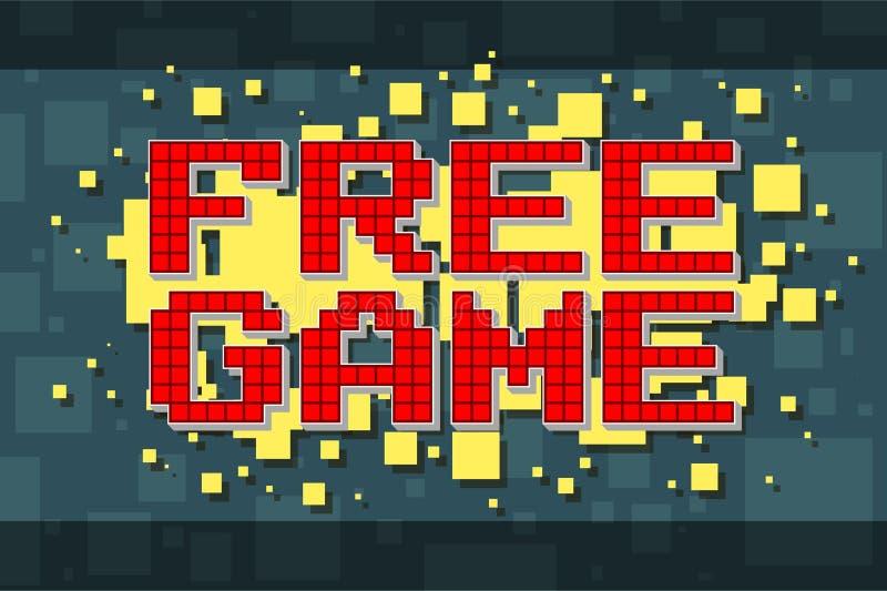 Retro fri modig knapp för rött PIXEL för videospel vektor illustrationer