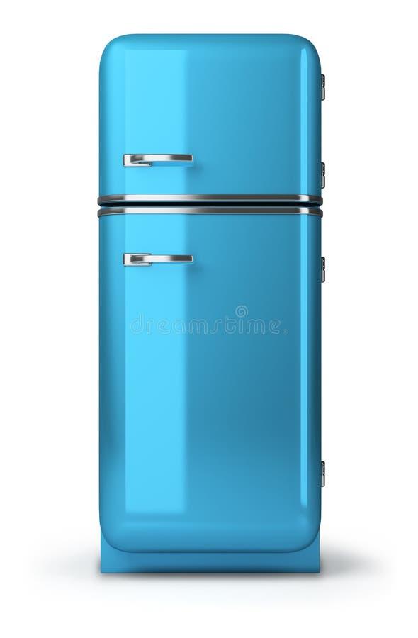 Retro fridge. Blue a retro the fridge. 3d image. Isolated white background royalty free illustration