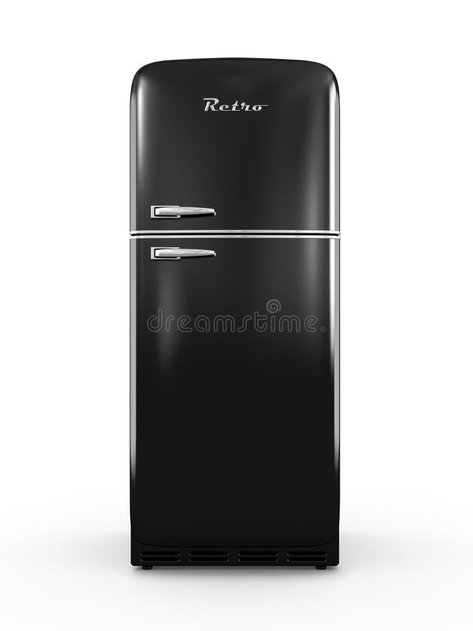 Retro fridge odizolowywający na białym tła 3D renderingu ilustracji