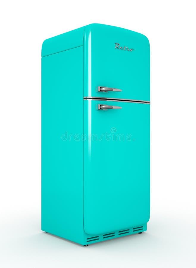 Retro fridge tła 3D odosobniony biały rendering ilustracji