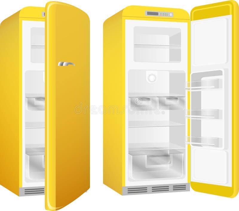 Retro frigorifero realistico della cucina di stile, dipinto nel colore giallo Insieme dell'illustrazione di vettore isolato su fo royalty illustrazione gratis