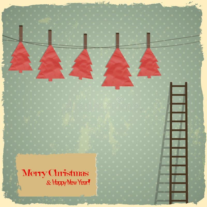 Retro- frohe Weihnachten mit Weihnachtsbäumen auf VI vektor abbildung