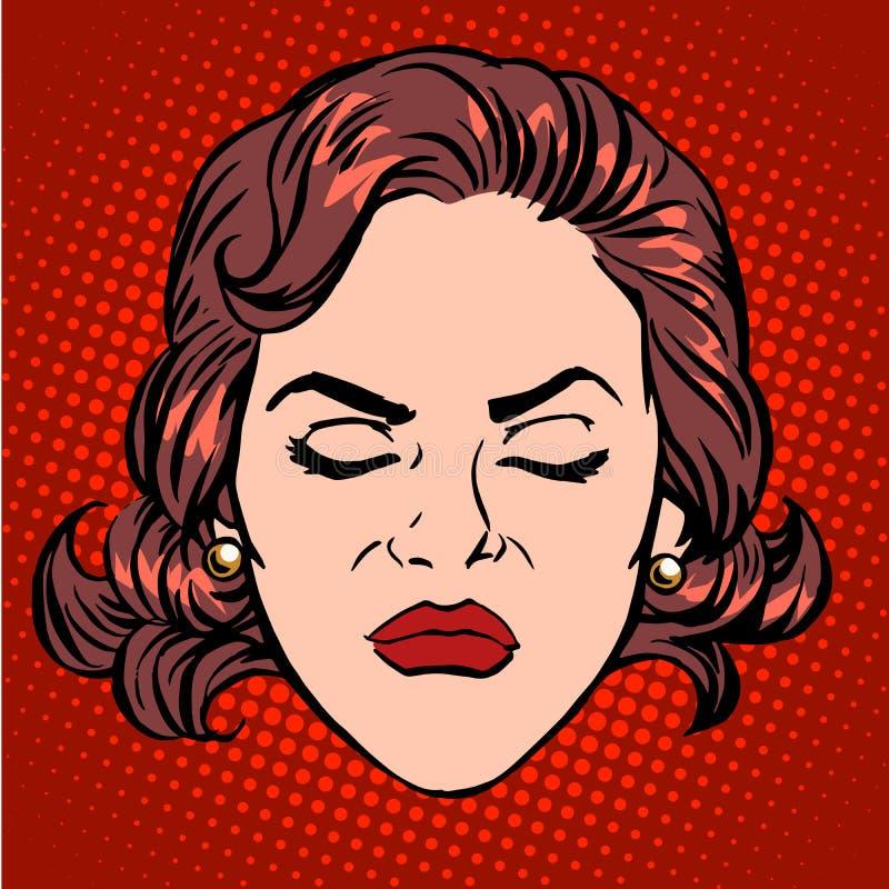 Retro fronte della donna di collera di rabbia di Emoji illustrazione di stock
