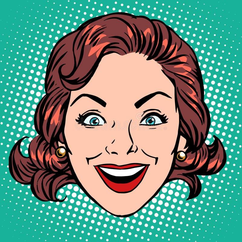 Retro fronte della donna di gioia di sorriso di Emoji royalty illustrazione gratis