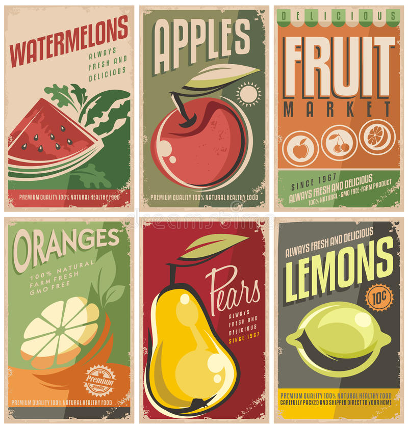 Retro fruit poster designs. royalty free illustration