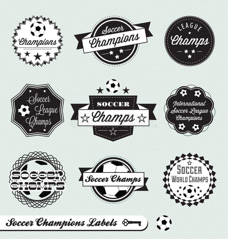 Retro- Fußball-Liga-Kennsätze und Aufkleber lizenzfreie abbildung